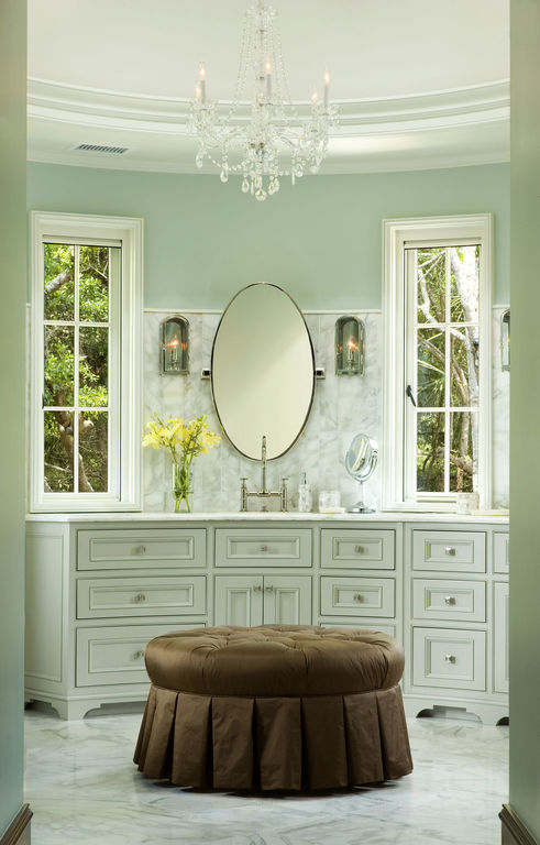 Calming master bath in white and robins egg blue