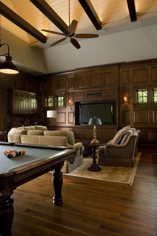 Game room with vaulted ceiling