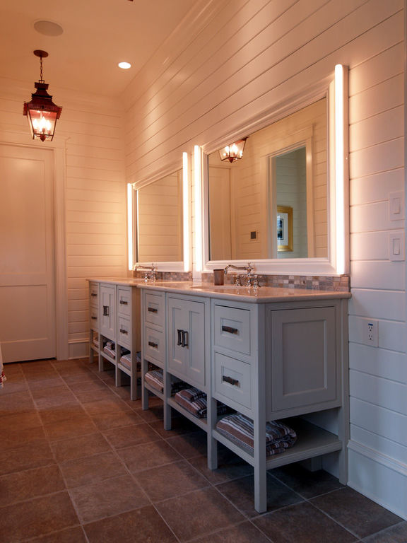 Guest bath with his and her sinks and shiplap paneling herlong