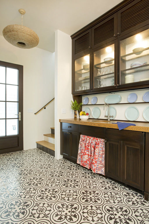 Guest house kitchen with a pattern tiled floor, herlong architects interiors by herlong