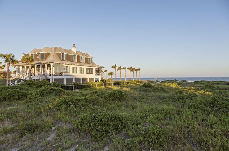 Isle of Palms home with curved palm trees, Palm tree lined, herlong architects