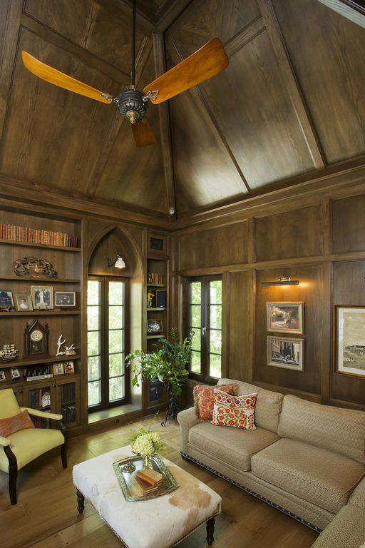 Library with vaulted ceiling , herlong architects interiors by herlong