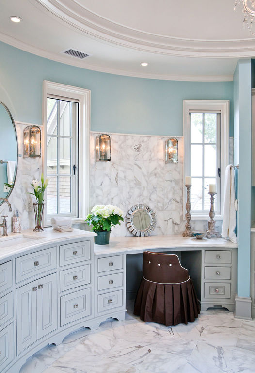 Master bath vanity, rounded cabinetry
