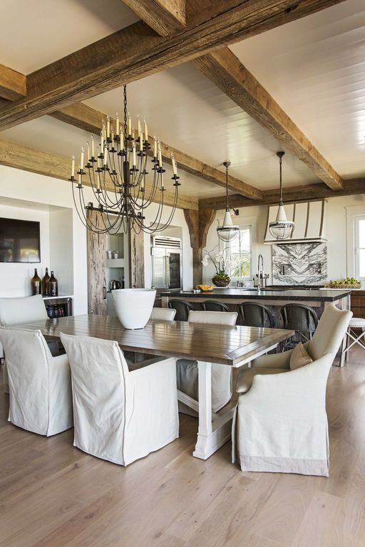 Modern rustic beach house dining room, herlong and associates