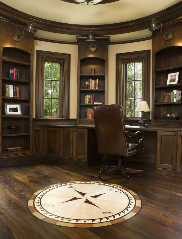 Office with wooden compass detail in floor design
