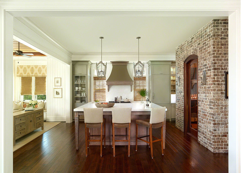 Open kitchen with wine closet and butler's pantry