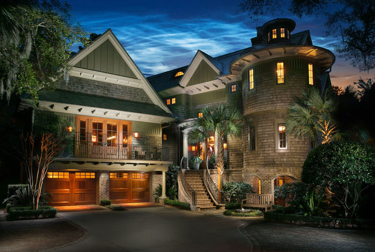 Shingle style home with olive green detailing kiawah island architecture firm