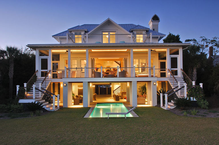 Sullivan's Island home with expansive back decks and an under the house pool design