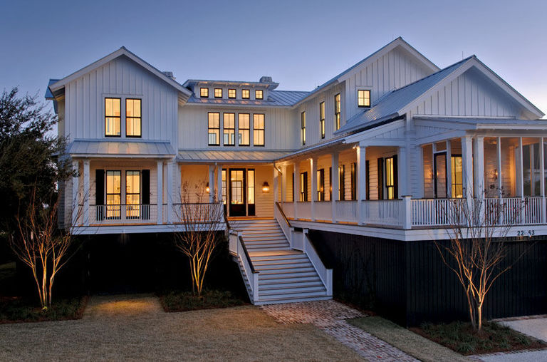 White L-shaped beach house sullivans island architect contemporary lowcountry herlong